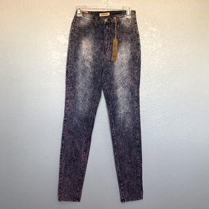 NWT Aphrodite Purple Acid Wash Distressed Jeans 7